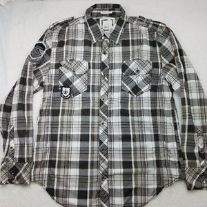 BKE Athletic Fit Stretch Plaid Shirt Large